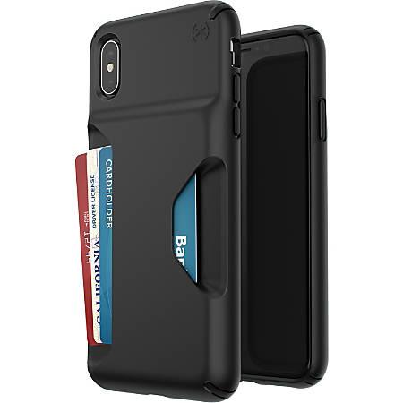 Speck Presidio Wallet iPhone Xs Max Case - For Apple Card, Banknote, iPhone Xs Max - Black - Matte - Impact Absorbing, Drop Resistant, Scratch Resistant, Shatter Resistant, Temperature Resistant, Chemical Resistant, Crack Resistant, Abrasion Resistant
