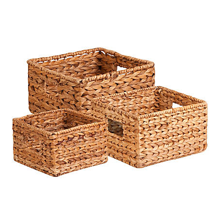Honey-can-do 3Pk Natural Baskets Set - Woven Banana Leaf - Natural Brown - For Sport Equipments, CD/DVD, Toy, Book, Toiletries - 3 / Pack