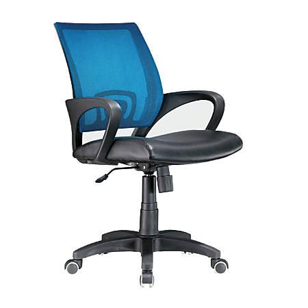 Lumisource Officer Mid-Back Chair, Black/Blue/Black