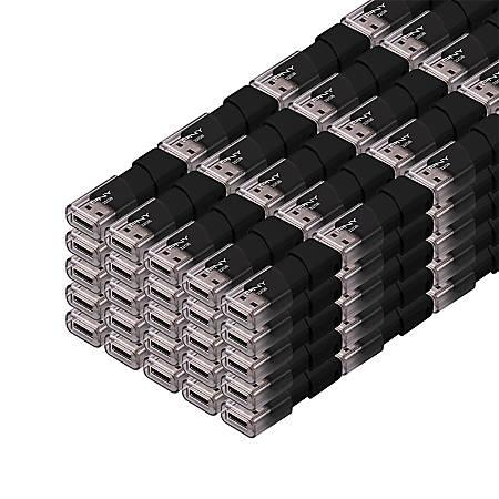 PNY Attache 3 USB 2.0 Flash Drives, 32GB, Black, Pack Of 100 Flash Drives, PFD32GX100ATT03MP