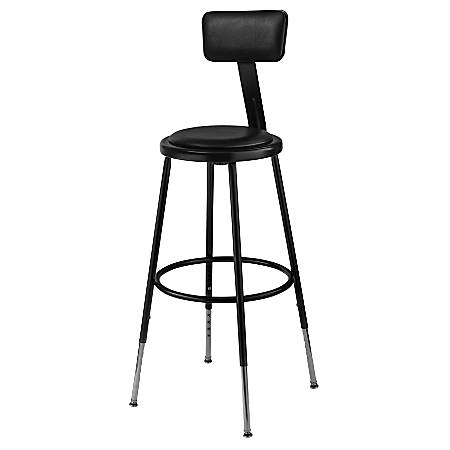 "National Public Seating 6400 Adjustable-Height Stool With Back, 24"", Black"