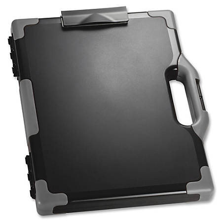 "Officemate® OIC® Carry-All Clipboard Box, 15 1/2""H x12 1/2""W x 2 1/4""D, Gray/Black"
