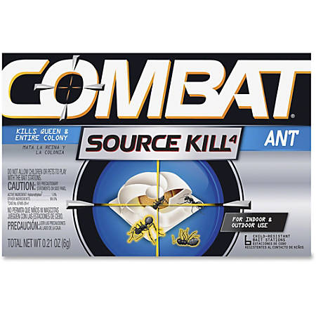 Combat Bait Stations Ant Killer - Kills Ants - 0.21 oz - Black, Silver