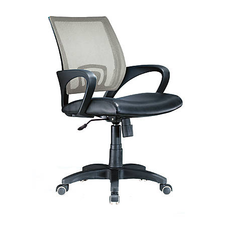 Lumisource Officer Mid-Back Chair, Black/Silver/Black