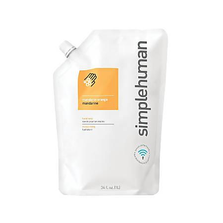 simplehuman Moisturizing Liquid Hand Soap Refill Pouches, Mandarin Orange, 34 Fl Oz, Pack Of 6