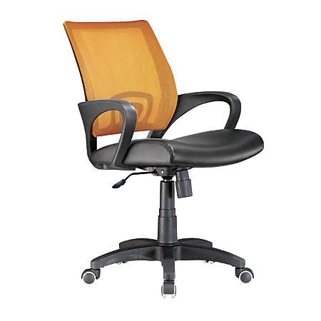 Lumisource Officer Mid-Back Chair, Black/Tangerine/Black
