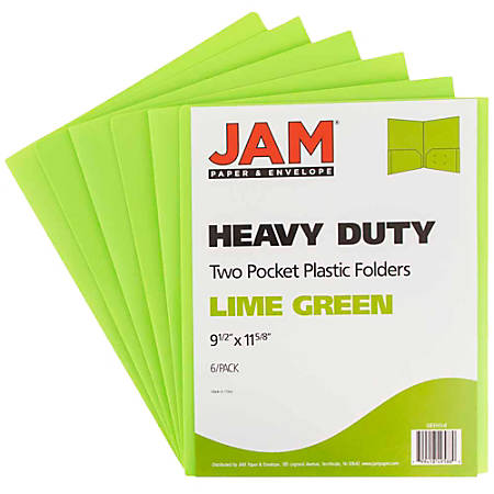 "JAM Paper® Heavy-Duty 2-Pocket Plastic Presentation Folders, 9"" x 12"", 1"" Capacity, Lime Green, Pack Of 6"