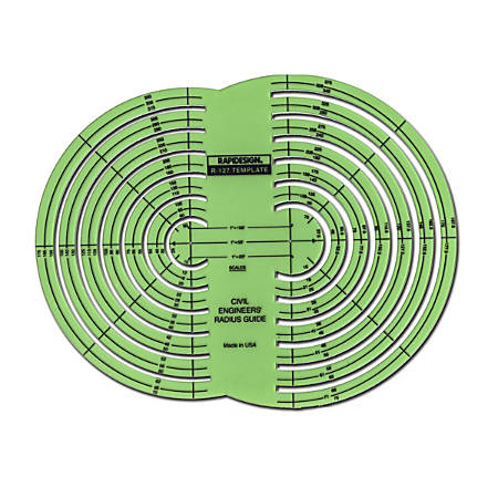 Rapidesign Engineer's Drafting And Design Template, Civil Engineer's Radius Guide