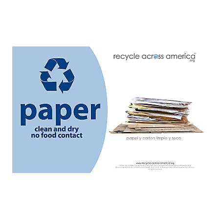 "Recycle Across America Paper Standardized Recycling Labels, P-5585, 5 1/2"" x 8 1/2"", Light Blue"