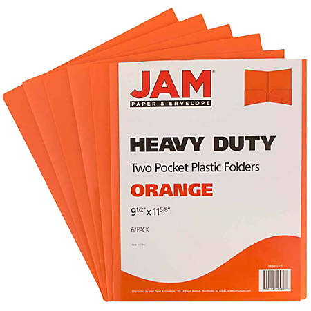 "JAM Paper® Heavy-Duty 2-Pocket Plastic Presentation Folders, 9"" x 12"", 1"" Capacity, Orange, Pack Of 6"