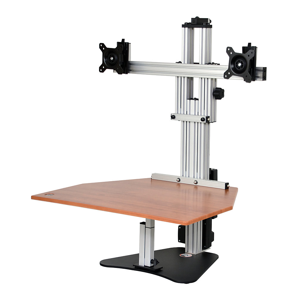 Standing and moving during the day can provide a wide array of health benefits over sitting all day long. This adjustable stand lets you stand for portions of the day, and then sit when you start to tire.  Accommodates 2 monitors weighing up to 10 lb and measuring 25