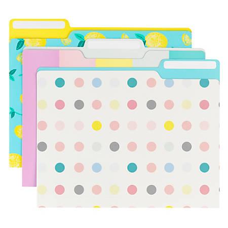 Office Depot® Brand Fashion Paper File Folders, Letter Size, Lemons/Stripes/Dots, Assorted Colors, Pack Of 6 Folders