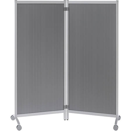 """Paperflow USA Mobile Partition - 30"""" Width x 67"""" Height11.8"""" Length - Aluminum Frame - Translucent Smoke"""