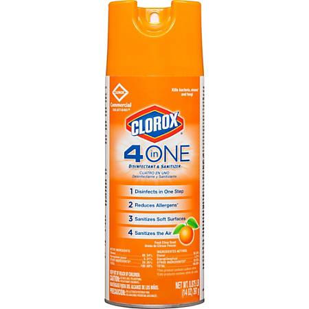Clorox Commercial Solutions 4-in-One Disinfectant and Sanitizer - Aerosol - 0.11 gal (14 fl oz) - Citrus Scent - 1596 / Pallet - Orange