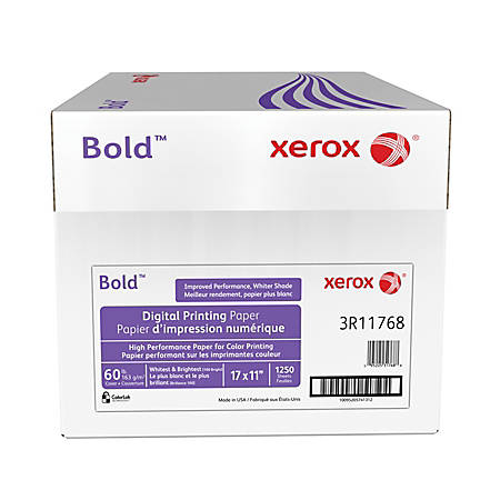 """Xerox® Bold Digital™ Printing Paper, 17"""" x 11"""", 100 Brightness, 60 Lb Cover (163 gsm), FSC® Certified, White, 250 Sheets Per Ream, Case Of 5 Reams"""