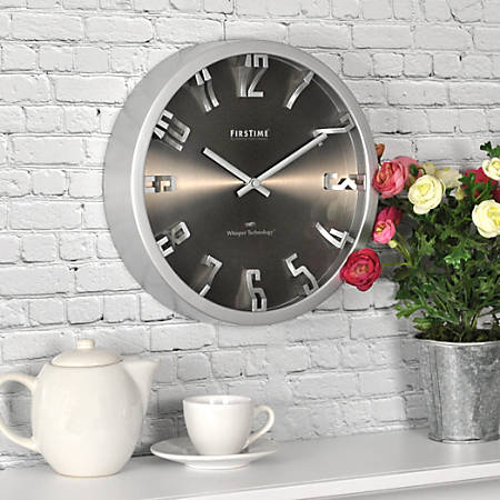 """FirsTime® Steel Dimension Wall Clock, 10"""", Silver"""