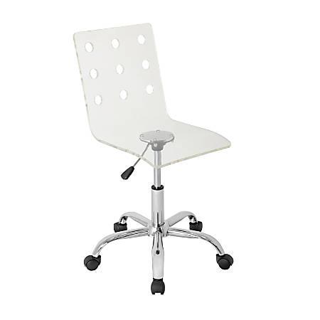 Lumisource Swiss Acrylic Office Chair, Clear/Chrome