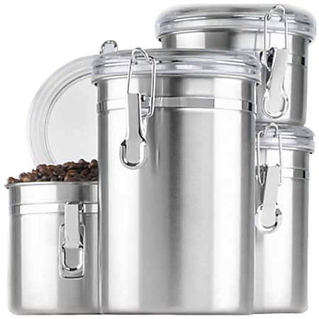 Anchor Hocking 4 Pc. Stainless Steel Clamp Canister Set w/Clear Lid - Food Canister, Lid - Stainless Steel