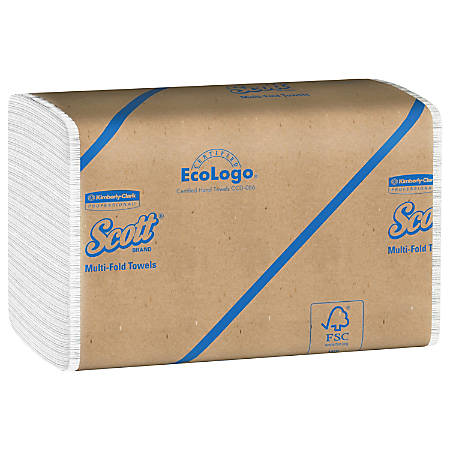 """Scott® 60% Recycled Multifold Paper Towels, 9 1/5"""" x 9 2/5"""", White, 250 Sheets Per Pack, Case Of 16 Packs"""