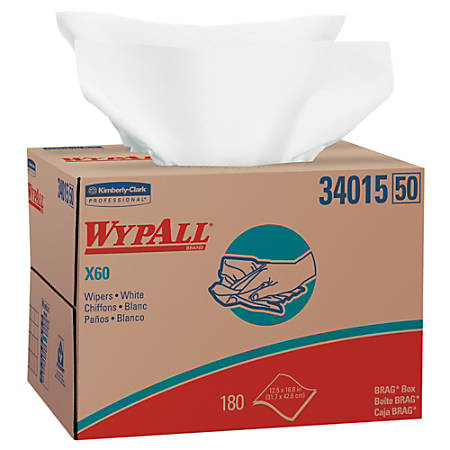 Kimberly-Clark Professional™ Wipers Wypall™ X60 Brag™ Box, Box Of 180