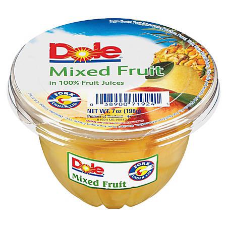 Dole Fruit Cups, Mixed Fruit, 7 Oz, Carton Of 12