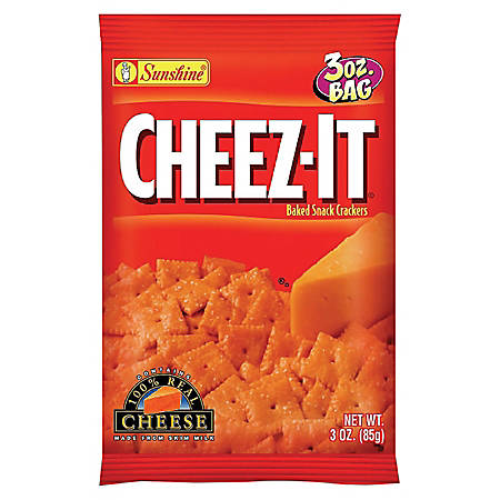 Cheez-It Baked Snack Crackers, Cheddar, 3 Oz Bags, Box Of 6