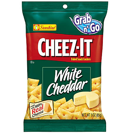Cheez-It Baked Snack Crackers, White Cheddar, 3 Oz Bags, Box Of 6