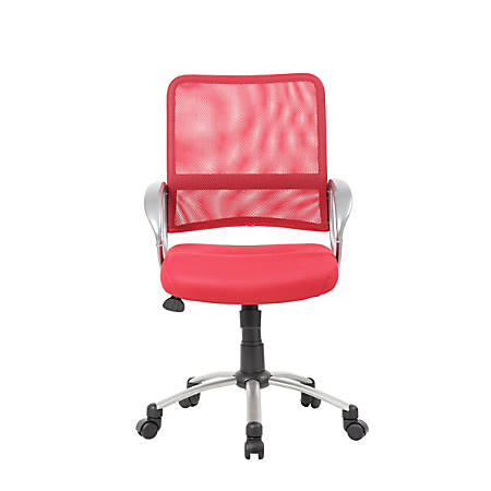 Boss Mesh Mid-Back Multipurpose Task Chair, Red/Black/Pewter
