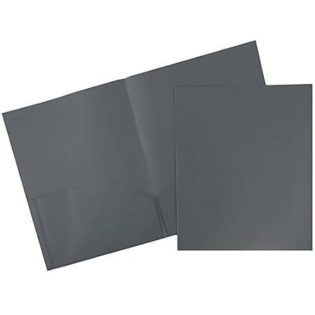 """JAM Paper® Plastic 2-Pocket POP Folders, 9 1/2"""" x 11 1/2"""", Gray, Pack Of 6"""