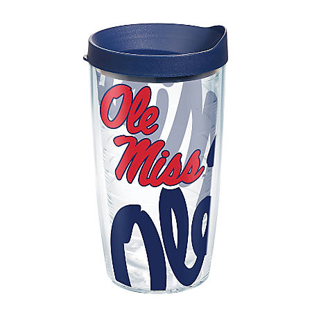 Tervis Genuine NCAA Tumbler With Lid, Ole Miss Rebels, 16 Oz, Clear