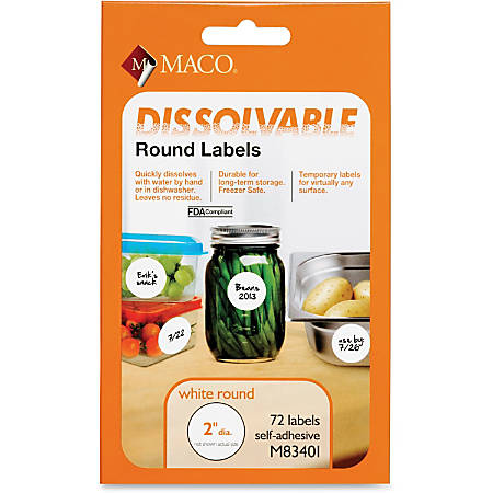 "MACO® Dissolvable Labels, MACM83401, 2"" Diameter, Round, White, 72 Of Box"