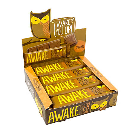 AWAKE Caffeinated Chocolate™ Caramel Bars, 1.5 Oz, Box Of 12