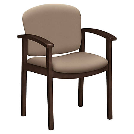 "HON Invitation Guest Chair, Fixed Arms - Fabric Seat - Hardwood Frame - Four-legged Base - Morel - 20"" Seat Width x 17"" Seat Depth - 23.5"" Width x 22"" Depth x 33.1"" Height"