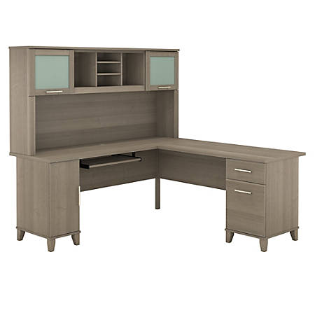 """Bush Furniture Somerset L Shaped Desk With Hutch, 72""""W, Ash Gray, Standard Delivery"""