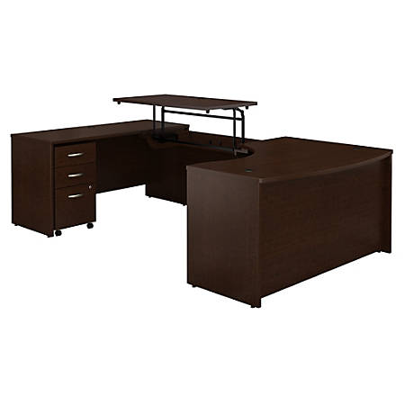 "Bush Business Furniture Components 60""W Left Hand 3 Position Sit to Stand U Shaped Desk with Mobile File Cabinet, Mocha Cherry, Standard Delivery"