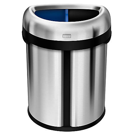 simplehuman dual compartment semi round stainless steel trashrecycling can 17 gallons office depot. Black Bedroom Furniture Sets. Home Design Ideas