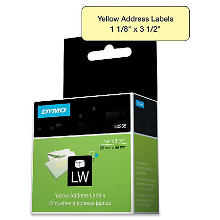 "DYMO® Address Labels, DYM30255, Permanent Adhesive, 1 1/8""W x 3 1/2""L, Direct Thermal, Yellow, Paper, Roll Of 130"