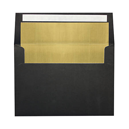 """LUX Invitation Envelopes With Peel & Press Closure, A7, 5 1/4"""" x 7 1/4"""", Black/Gold, Pack Of 50"""