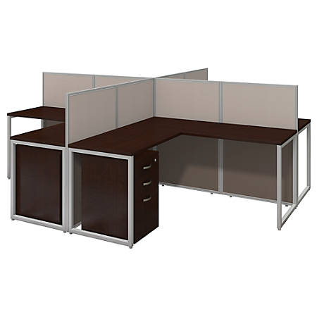 "Bush Business Furniture Easy Office 60""W 4-Person L-Desk Open Office With Four 3-Drawer Mobile Pedestals, 44 15/16""H x 119 1/8""W x 119 1/8""D, Mocha Cherry, Premium Delivery"