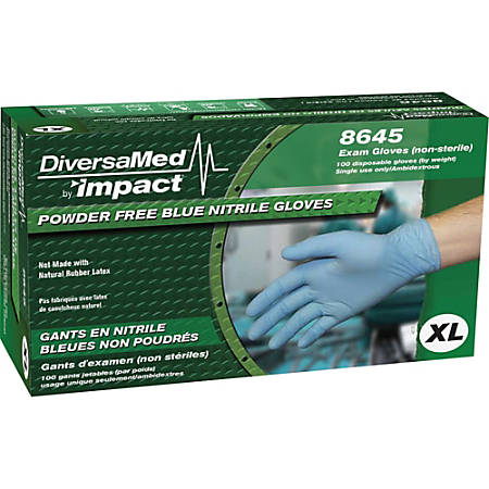 ProGuard Disposable Nitrile Powder Free Exam - X-Large Size - Nitrile - Blue - Beaded Cuff, Textured Grip, Powder-free, Ambidextrous, Disposable - For Dental, Medical, Food, Laboratory Application - 100 / Box