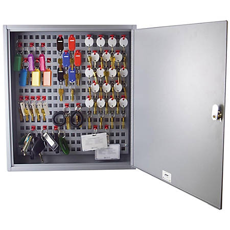 """Steelmaster Flex Key Cabinet - 16.5"""" x 22.6"""" x 3.8"""" - Hinged Door(s) - Sturdy, Durable, Scratch Resistant, Chip Resistant, Key Lock, Wall Mountable - Gray - Plastic, Steel - Recycled - Assembly Required"""