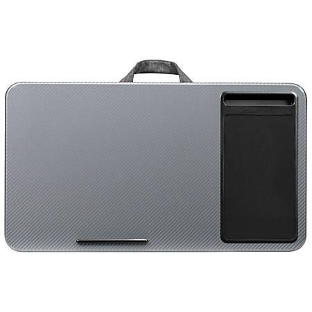 """LapGear Lap Desk With Mouse Pad, 12""""H x 21.1""""W x 2.6""""D, Silver Carbon"""
