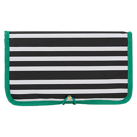 "See Jane Work® Going Places Cord And Access Organizer, 11 1/4""H x 6 1/2""W x 1/2""D, Black/White Stripe"