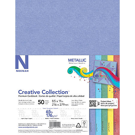 """Neenah® Creative Collection™ Metallic Specialty Card Stock, 65 Lb, 8 1/2"""" x 11"""", FSC® Certified, Pearlescent, Assorted Colors, Pack Of 50"""