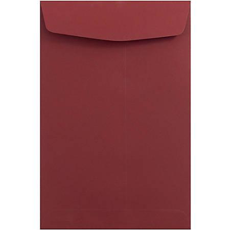 "JAM Paper® Open-End Catalog Envelopes With Gummed Closure, 6"" x 9"", Dark Red, Pack Of 10"