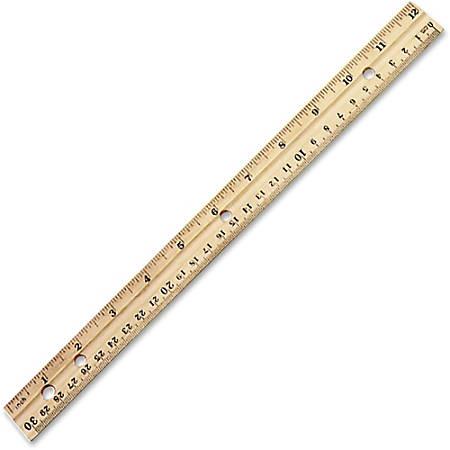 """Charles Leonard 12"""" Double-Beveled Wood Rulers, Box Of 36"""