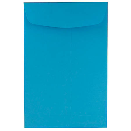 """JAM Paper® Open-End Catalog Envelopes With Gummed Closure, 6"""" x 9"""", 30% Recycled, Blue, Pack Of 10"""