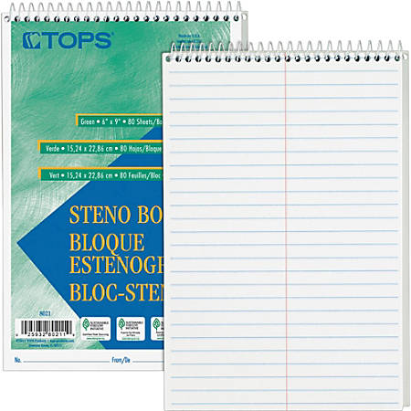 """TOPS Steno Books - 80 Sheets - Wire Bound - Gregg Ruled - 6"""" x 9"""" - White Paper - Hardboard Cover - WireLock - 12 / Pack"""