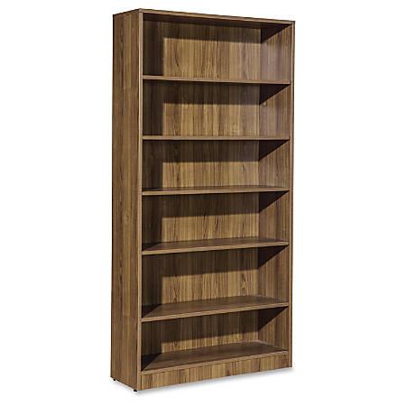 "Lorell Essentials Series Walnut Laminate Bookcase - 36"" x 12.5"" x 72""Bookshelf, 0.8"" Shelf - 6 Shelve(s) - Square Edge - Material: P2 Particleboard - Finish: Thermofused Laminate (TFL), Walnut"