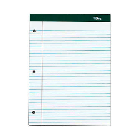"""TOPS™ Double Docket™ Writing Pads, 3-Hole Punched, 8 1/2"""" x 11 3/4"""", Legal Ruled, 100 Sheets, White, Pack Of 6 Pads"""